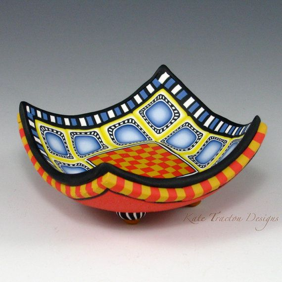 Polymer Clay Ring Bowl Red Yellow Blue White by KateTractonDesigns