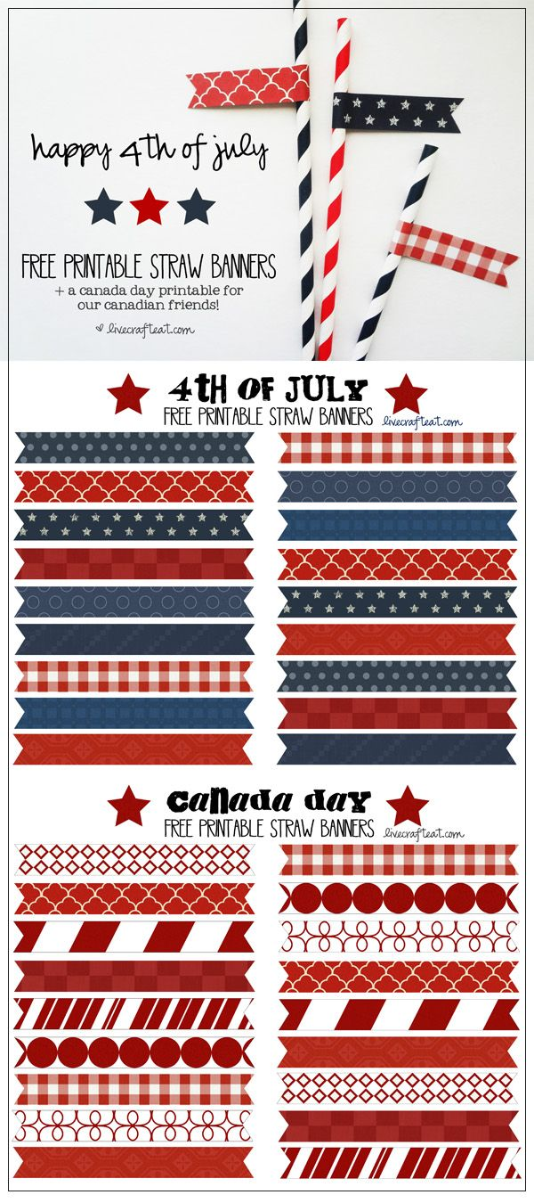 have you seen those cute paper straws with paper banners? so cute! free printable straw banners for the 4th of july  canada day! so simple to put together - and what a great way to decorate for a party or picnic! | www.livecrafteat.com
