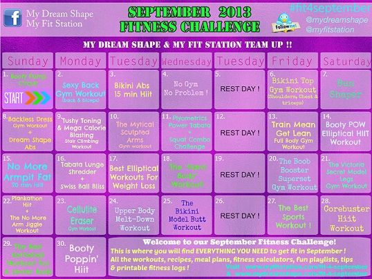 September Fitness Challenge & Free Workout Calendar ! Grab your goodies at www.myfitstation.com/fit-4-september