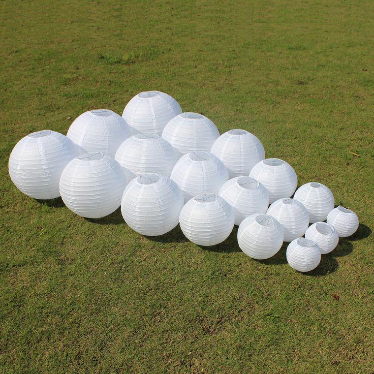 10 sztuk 6-8-10-12-14-16 Cal Białe Chińskie Papierowe Latarnie Dla Partii Akcesoria Dekoracje ślubne Białe Wiszące Papieru Ball Lampa LED
