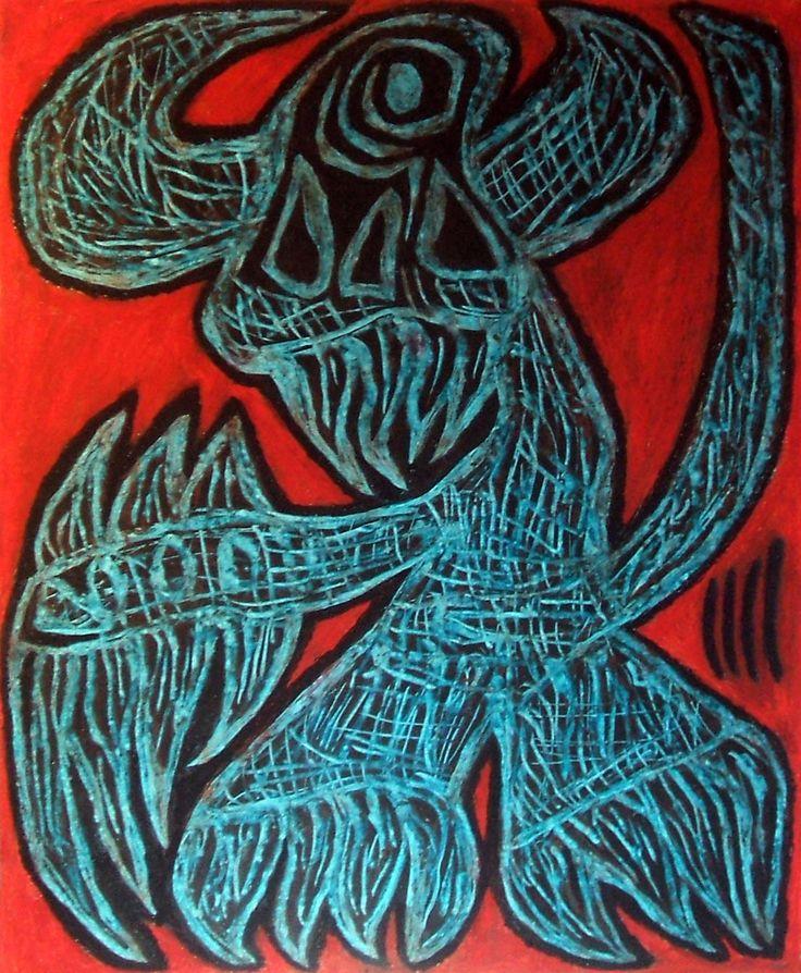 """Demone fosco"" 2015 Tecnica mista su cartoncino 58x48 © Pietro Gargano"