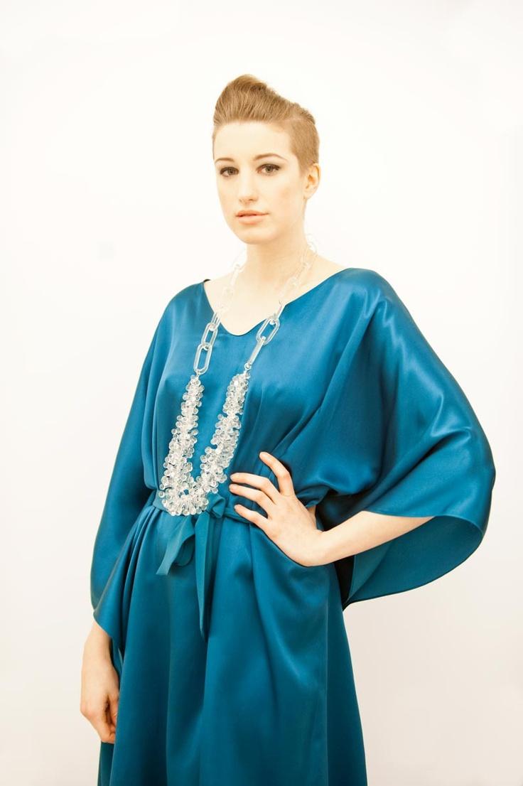 Silk satin kaftan with tie-waist detail