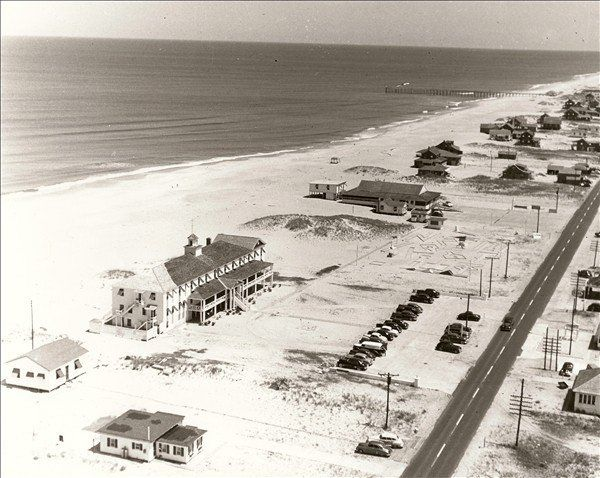 Beach Road and Nags Header Hotel 1950 -- by Roger Meekins, Outer Banks History Club