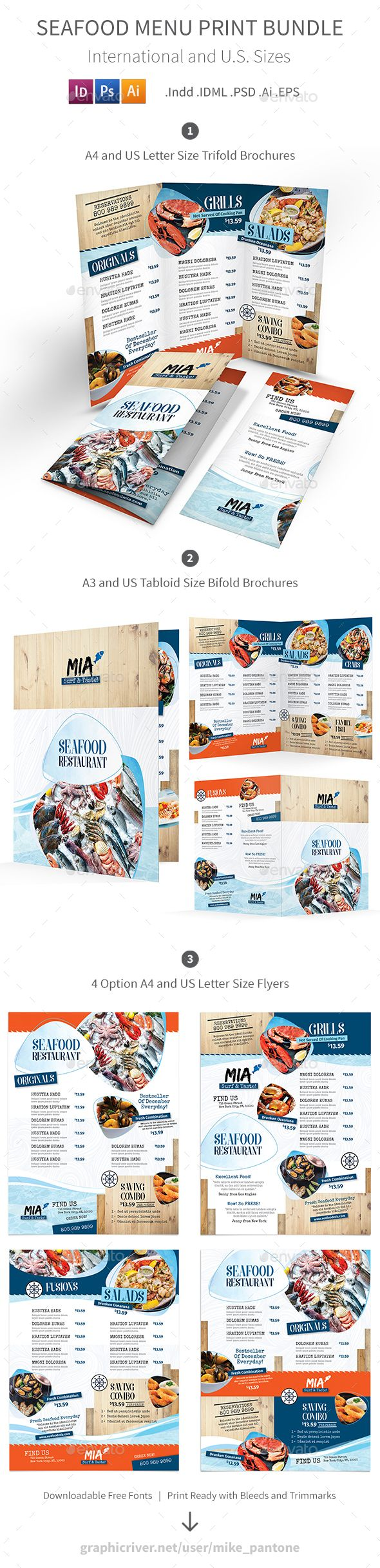 Seafood Restaurant Menu Print Bundle 3 #eat #lobster • Download ➝ https://graphicriver.net/item/seafood-restaurant-menu-print-bundle-3/21282361?ref=pxcr