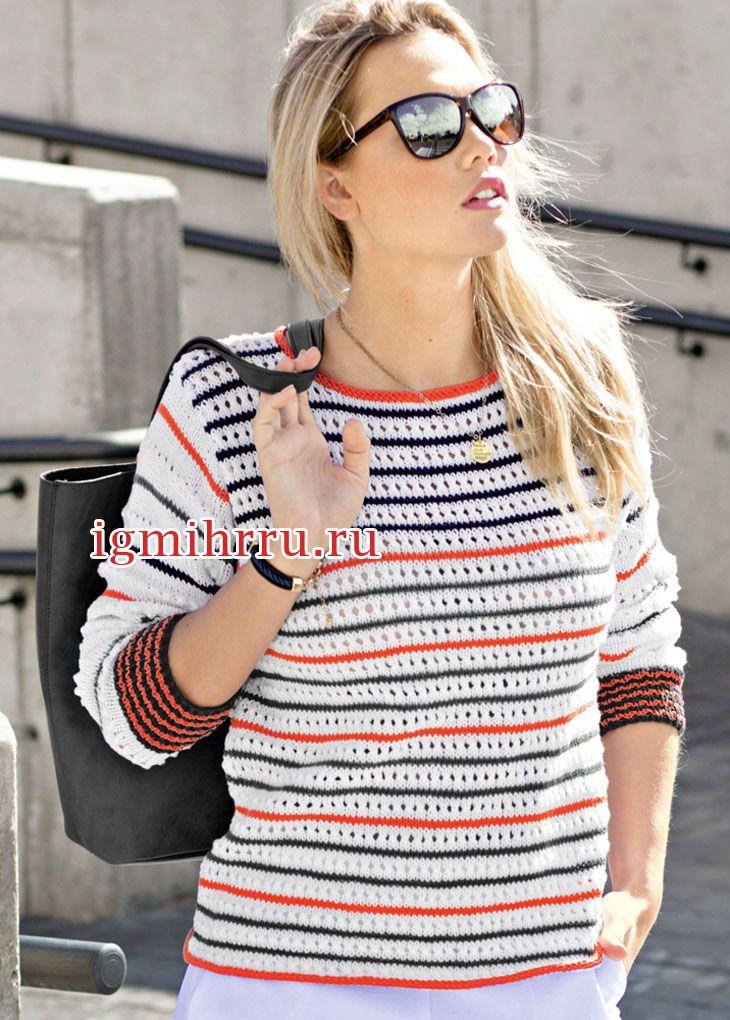 Легкий пуловер в полоску с ажурным узором. Вязание спицами