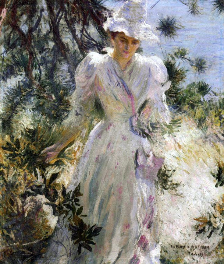 Edmund C. Tarbell (American 1862–1938) [Impressionism, Portrait, The Ten] My Wife, Emeline, in a Garden (1890) Private Collection. – The Athenaeum