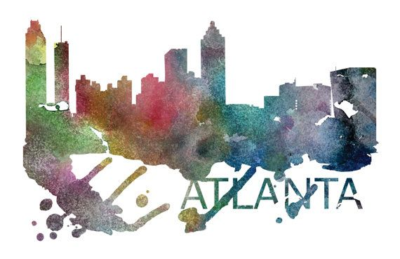 Atlanta Art, Atlanta Skyline, Atlanta map, Atlanta skyline, Atlanta map print  A beautiful Watercolor Art print of Atlanta, Georgia. Perfect