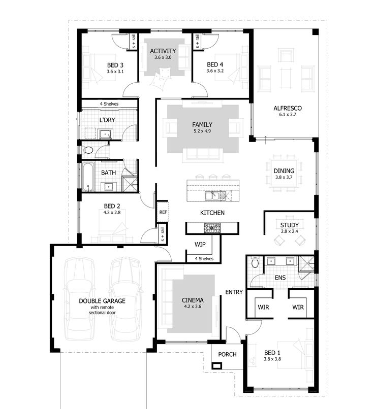 The Connery - a practical and stylish family home designed to suit 17m blocks with huge open plan living spaces, study, home cinema and activity room.