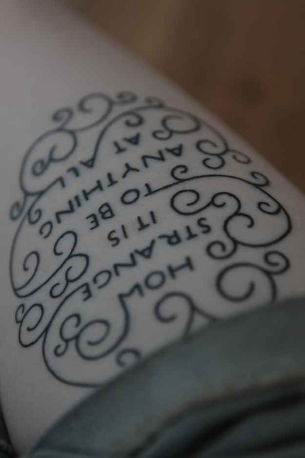 Love the way the words are intwined in the design. Inspo for my floral/LfA tattoo.
