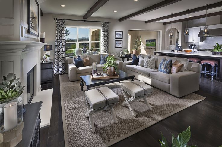 Model Home Living Room descano del sur - san diego new homes - plan1- living room