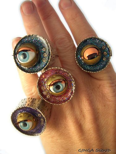 Vintage Dolls Eye Blinking Rings made with vintage blinking eyes from dolls