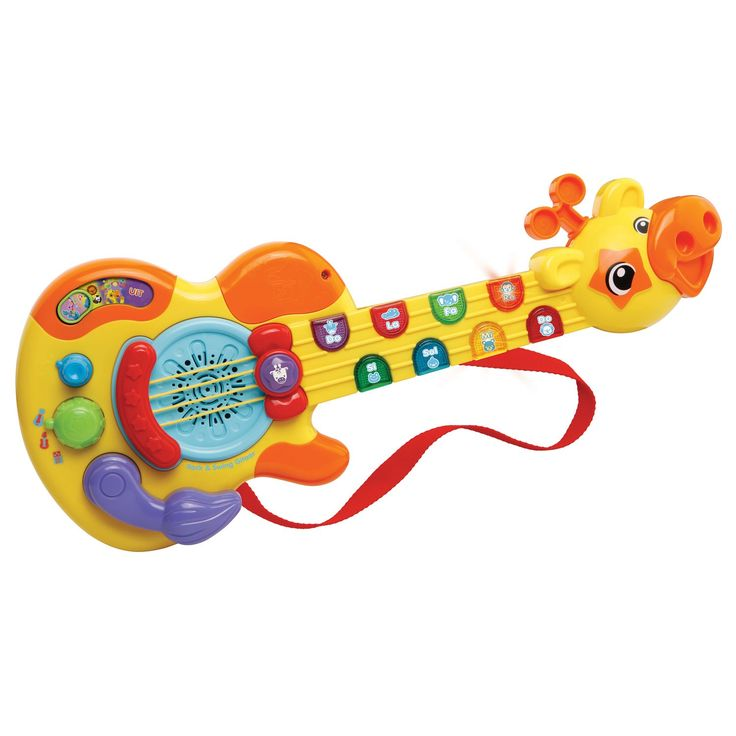 Wil je ook eenrocksterretje worden speel dan op de VTech Baby Rock & Swing Gitaar! Druk op de knipperende toetsen op de hals van de giraf om vrolijke liedjes, melodietjes, akkoorden en grappige dierengeluiden te horen. Draai de gitaarstijl-knop om je favoriete gitaarstijl te kiezen, beweeg de staart om coole gitaargeluiden te horen of beweeg de snaren voor nog meer speelplezier! De Rock & Swing Gitaar werkt op 2 AA-batterijen. Specificaties van de Rock & Swing Gitaar:• 19 melodietje