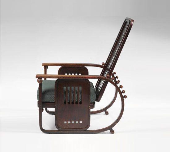 Model No. 670 Sitzmaschine Fotoliu pentru J.&J. Kohn, C. 1908 design de Josef Hoffmann