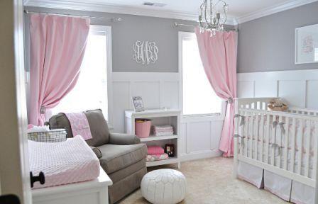 chambre de bébé gris et rose