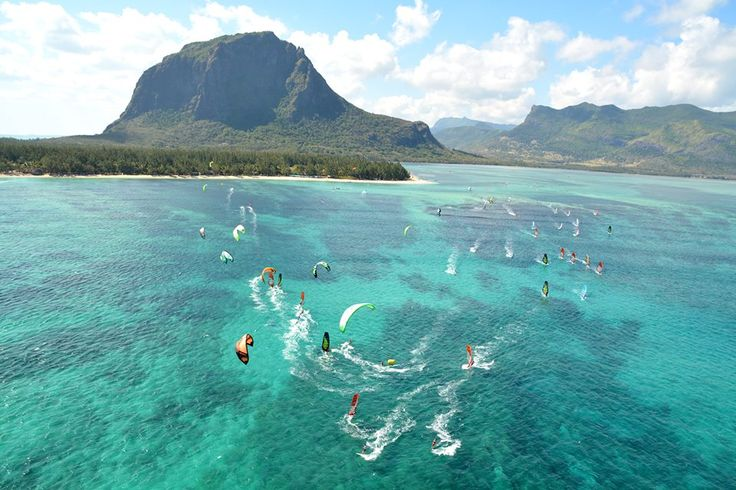 Kite surf in the west coast of Mauritius Island Le Morne