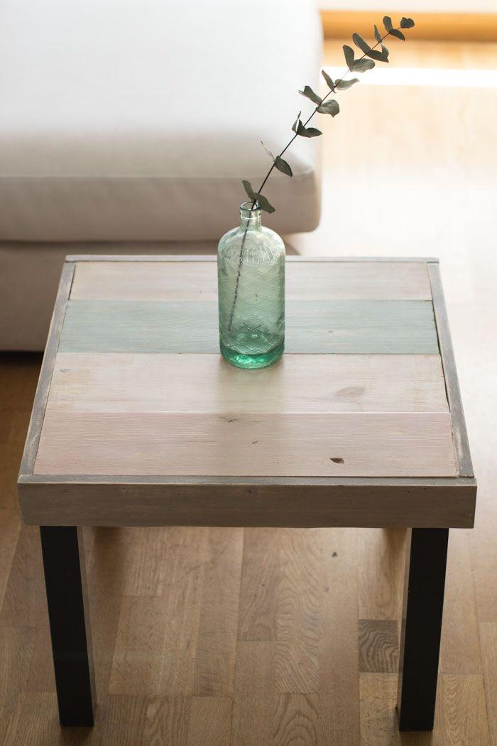 Diy ikea lack mesa con madera y chalkpaint chalkikeando for Decoracion piso pequeno ikea