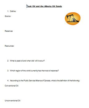 A 90 minute lesson that includes note taking and a mini reseach task for students.  The concept pf peak oil is presented and the Alberta Oil Sands are used as a case study of an unconventional oil resource.  Students are to determine if the positives outweigh the negatives of developing the oil sands.