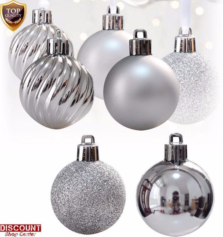 24Pack Silver Christmas Ornaments Balls Set Tree Decorations Hang Xmas Holiday #KIStore