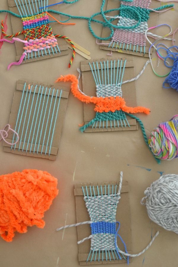 Make cardboard looms and show little kids how to weave & you will be amazed by what they can make...