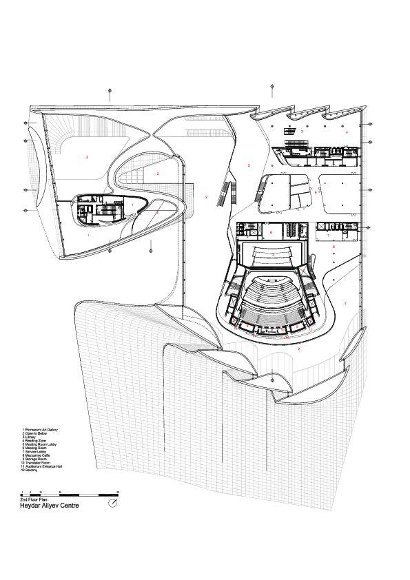 2nd Floor Plan -> Heydar Aliyev Center / Zaha Hadid Architects