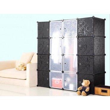 Wardrobe Organiser Shelving System 16 Door BLACK