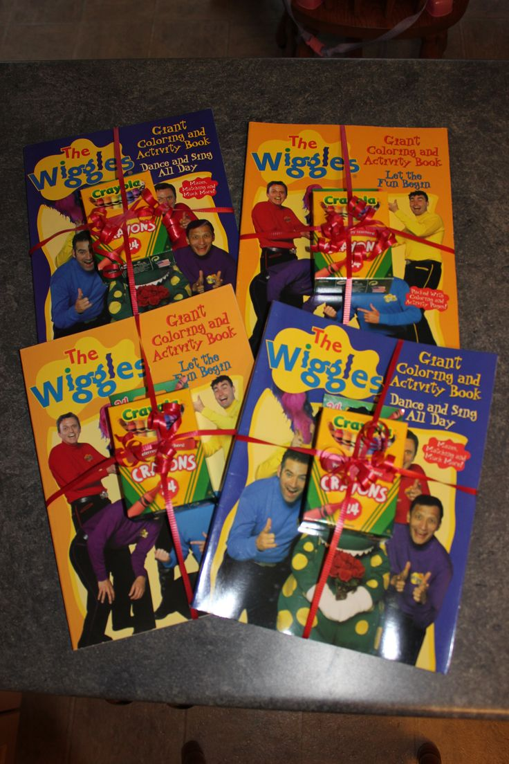 Wiggles Colouring Books & Crayons for giveaways to little guests