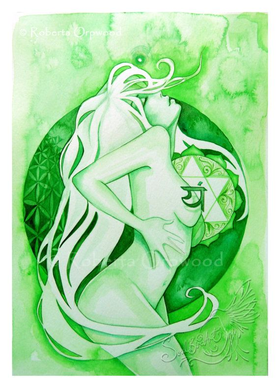 Art Print from original watercolour painting Signed and dated by the artist, Roberta Orpwood This print is part of the Chakra Goddess series ~ you will find the others among my other artworks here (if they are not listed, they will be shortly!). Anahata is the Sanskrit name for this Chakra and is associated with Love, Compassion, One-ness and beliefs about Love itself. It is known for being a feminine/Yin Chakra. Interestingly, the developmental age and life lessons for this vortex occur…