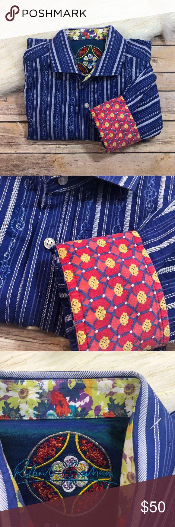 """Robert Graham Pinstripe and Floral Dress Shirt Robert Graham Blue & White Pinstripe and Floral Button Up Dress Shirt Size XL Size XL Length- 34"""" 100% Cotton Smoke free home! Robert Graham Shirts Dress Shirts"""