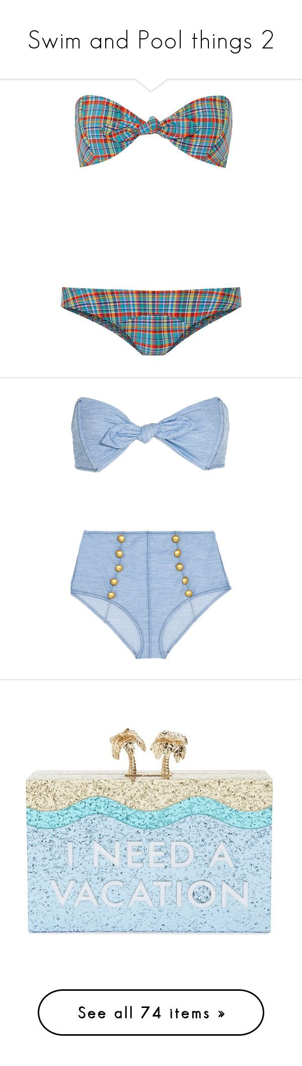 """Swim and Pool things 2"" by flirtydzines ❤ liked on Polyvore featuring swimwear, bikinis, light blue, bandeau bikini top, pinup bikini, tie-dye swimwear, bikini two piece, pinup swimwear, bikini and lisa marie fernandez"