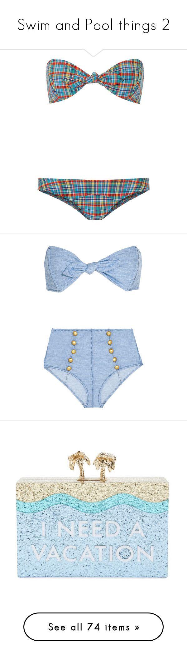 """Swim and Pool things 2"" by flirtydzines ❤ liked on Polyvore featuring swimwear, bikinis, light blue, bandeau bikini top, pinup bikini, tie-dye swimwear, bikini two piece, pinup swimwear, bikini and lisa marie fernandez"