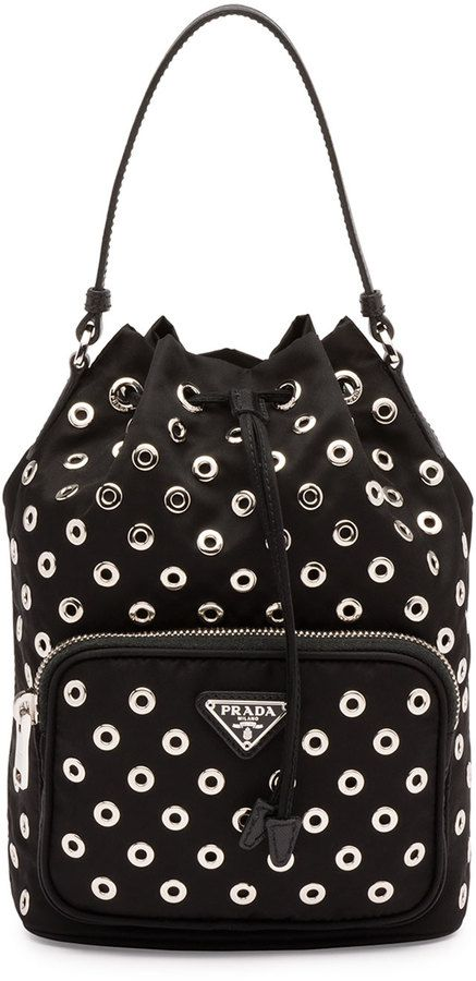 Prada Tessuto Vela Grommet Small Bucket Crossbody Bag, Black (Nero) - $700.00