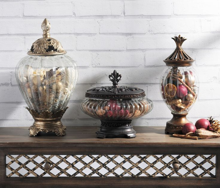 Put your potpourri on display in these gorgeous jars. Your entryway table, sideboard, or dresser will look great and smell great! It's a simple touch that adds so much to a room.