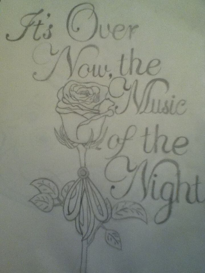 """Phantom of the Opera inspired drawing by me.  """"It's Over Now, the Music of the Night."""" I saw a similar version on google images and I had to make my own. I am a Phantom fan!!"""