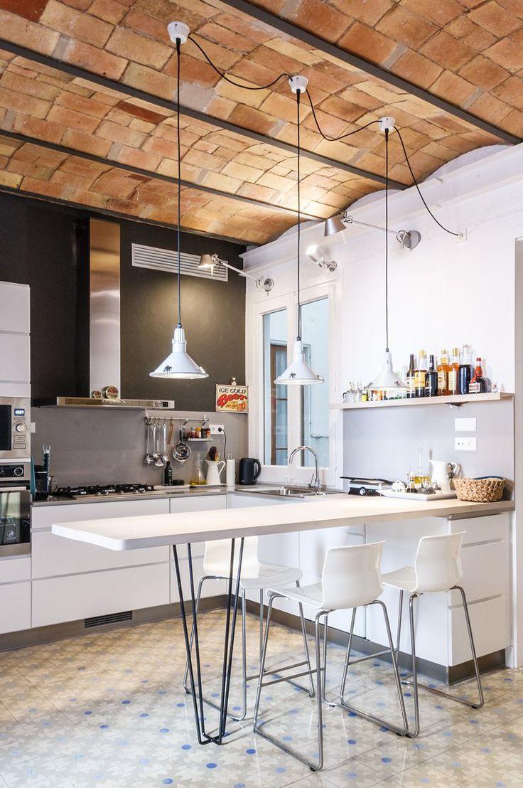 Charming Modern Kitchen with Catalan Brick Barrel Vault Ceiling