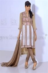Picture of Beige Chifon Churidar and Kameez with WHITE SLEEVES
