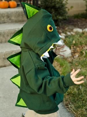 This dinosaur costume is simple to make with basic sewing skills and so comfy that kids will want to wear it after Halloween.