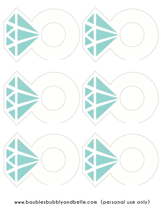 Free Tiffany Ring Printables...for glass charm or cupcake, cake toppers, photo props.