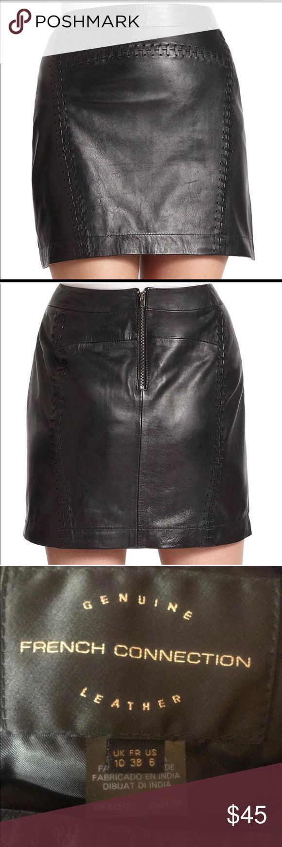 French Connection leather skirt!! ❤️ In excellent condition, no rips or tears, is brand new! I just bought this from another posher, and it fits me a little big 😕 . Just trying to get what I paid for it back 🙈 French Connection Skirts Mini
