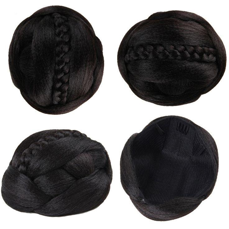 Q88   Chignon  hair buns synthetic hair color of  1B black hair high bun  extension chignon