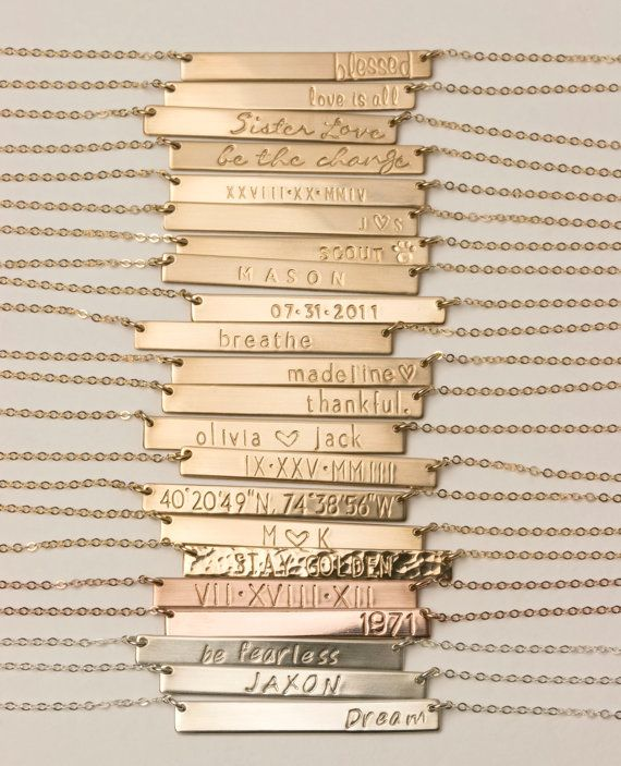 Bar Necklace Custom Name Plate Necklace Gold by LayeredAndLong