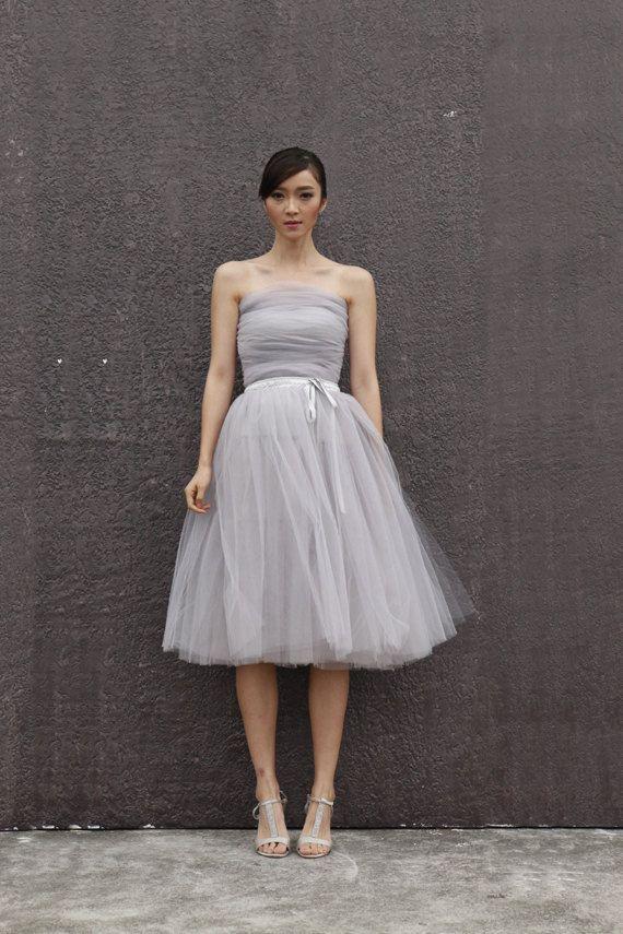 Tulle Skirt Tea length Tutu Skirt Elastic Waist by Sophiaclothing