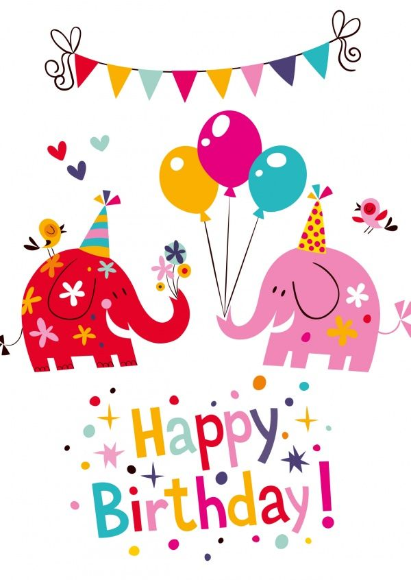 Happy Birthday-Elefanten | Happy Birthday | Echte Postkarten online versenden…