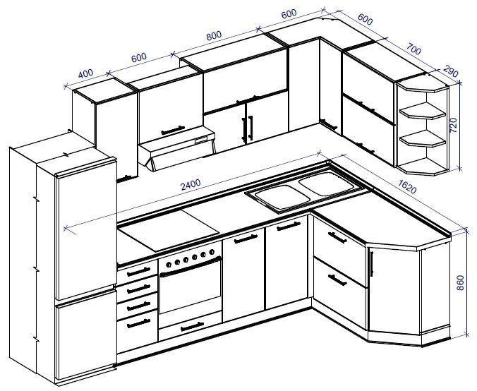 Чертеж кухонного гарнитура из ДСП