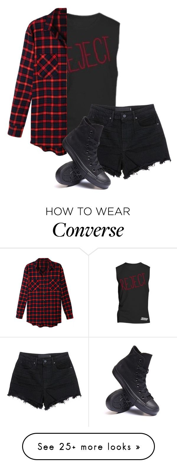 """""""Untitled #536"""" by bands-are-my-savior on Polyvore featuring LE3NO, T By Alexander Wang and Converse"""