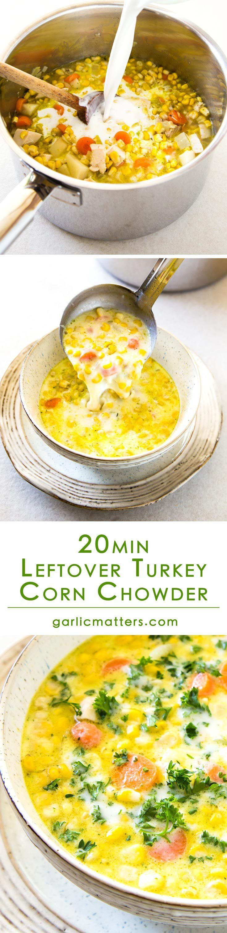 Looking for an idea on how to use leftover turkey? Try my favourite Leftover Turkey Corn Chowder! This recipe is an easy-peasy way to reinvent roast turkey leftovers into another tasty and nutritious meal. 20 minutes. 3 steps. Lunch is ready!