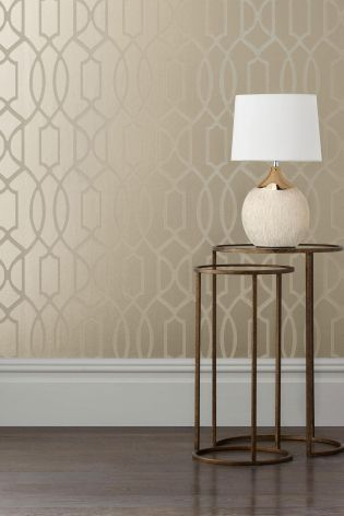 Buy Champagne Surface Print Lattice Geo Wallpaper From The Next UK Online  Shop