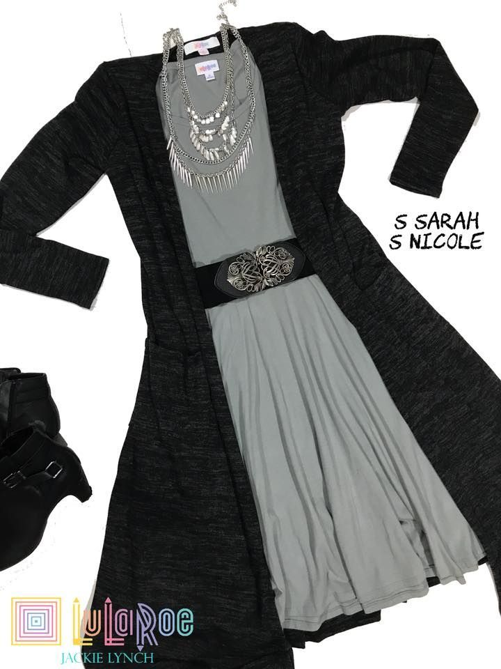 Solid Black LulaRoe Sarah and a Gorgeous Grey Nicole! I love, love, LOVE this outfit!  Shop Now with Jackie Lynch for your perfect Lula Looks and Outfits   https://www.facebook.com/groups/LuLaRoeJackieLynch/  #lularoe #sarah #nicole #outfit #winter #fashion