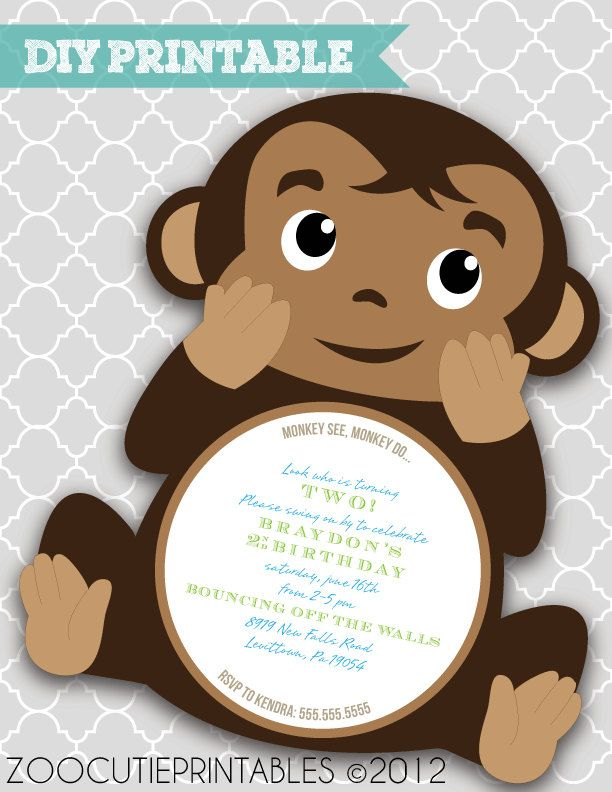 DIY Monkey Invitations. $12.00, via Etsy.