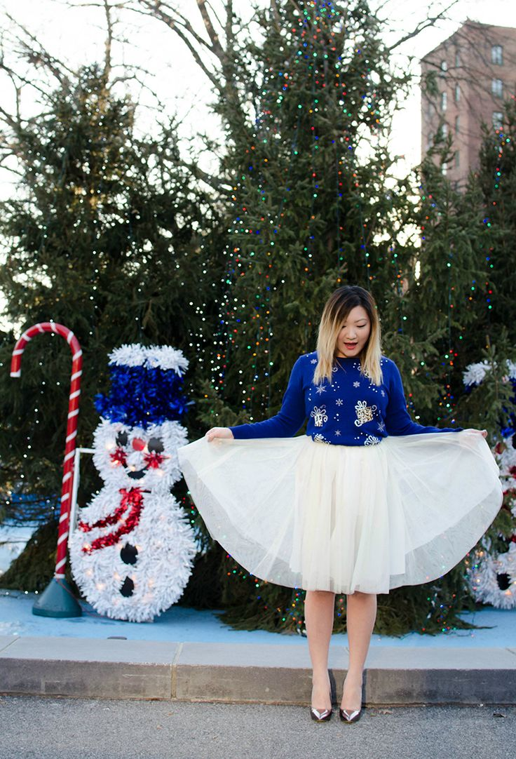 What better way than wearing a full tulle skirt to make an ugly Christmas sweater outfit pretty?! @Tineey