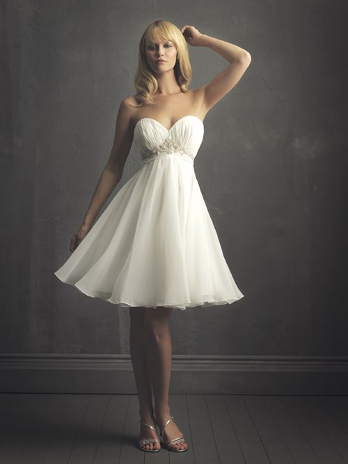 2011 Far & Away by Allure - White & Silver Pleated Chiffon Short Strapless Sweetheart Destination Wedding Dress - 2 to 32